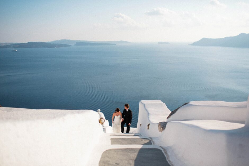 LA wedding photographer at Santorini elopement in Greece