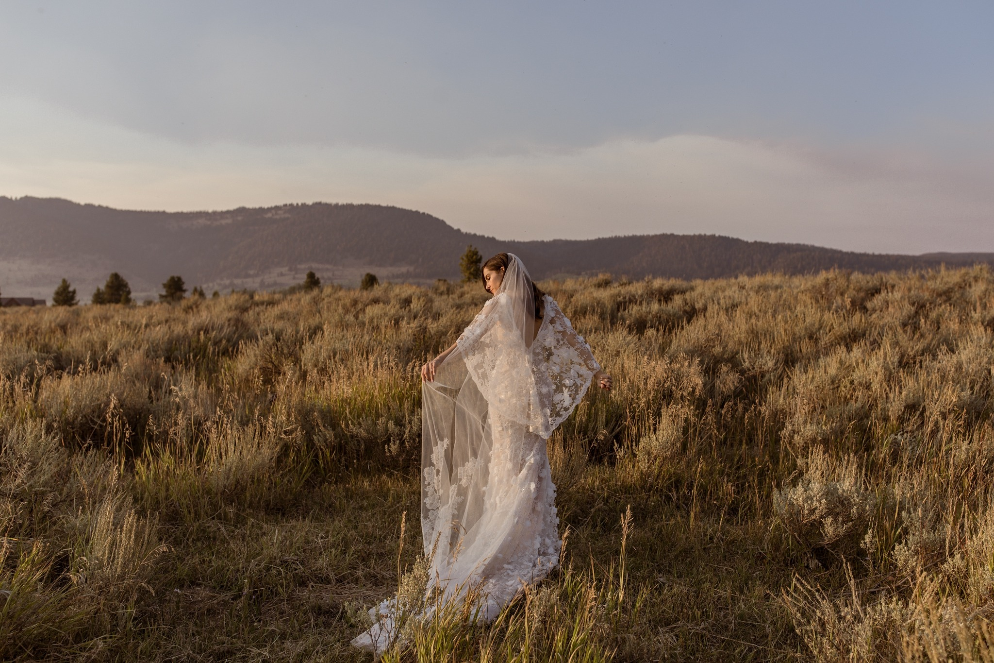 Marchesa wedding dress for Montana wedding with Top Wedding Photographer Sarah Falugo
